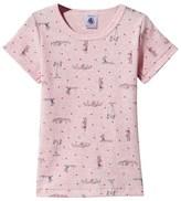 Petit Bateau Pink Girl and Heart Print Tee
