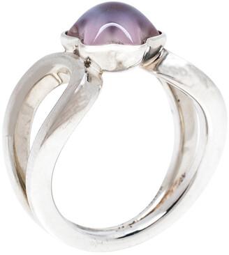 Montblanc Cabochon de Rose Quartz Silver Ring Size 56