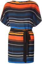 Dorothy Perkins Multi Coloured Stripe Tie Waist Tunic Top