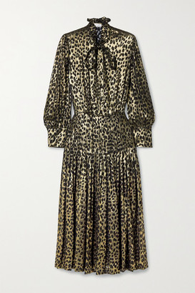 Saint Laurent Pussy-bow Pleated Leopard-print Fil Coupe Silk-blend Lame Midi Dress - Black