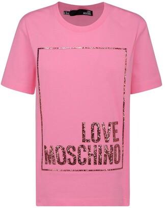Love Moschino Glitter Logo Printed T-Shirt