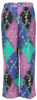 Gucci Rhombus And Gg-print Silk-satin Trousers - Womens - Purple Multi