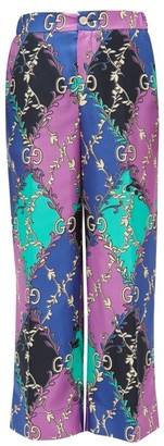 Gucci Rhombus And Gg-print Silk-satin Trousers - Womens - Purple Multi