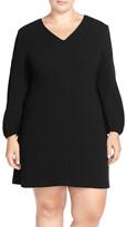 Taylor Stretch Crepe Shift Mini Dress (Plus Size)