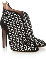 Alaia Laser-cut suede ankle boots