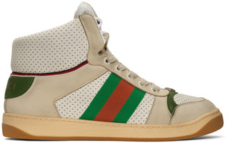 Gucci White Screener High-Top Sneakers