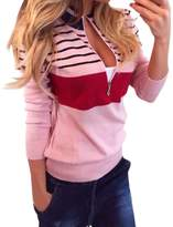 Fashion Story Womens Spell Color Stripes Half-Zip Pullover US 10-14
