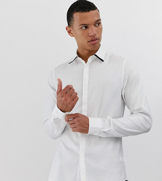Asos DESIGN Tall slim fit textured twill shirt in white with contrast tipping