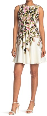 Gabby Skye Sleeveless Floral Print Scuba Midi Fit and Flare Dress