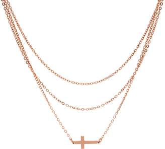 Silver Cross Italian Motif Layered Necklace 7.1g