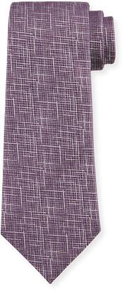 Ermenegildo Zegna Men's Scratch-Print Silk Tie, Purple