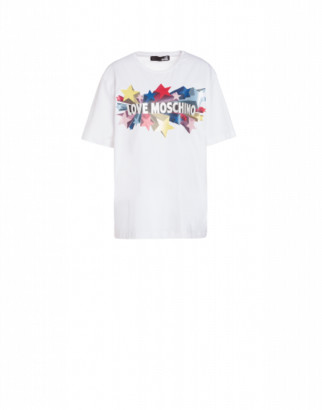 Love Moschino Glitter Stars Jersey T-shirt Woman White Size 38 It - (4 Us)
