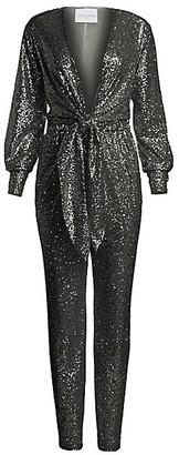 Carolina Ritzler Tie-Front Sequin Jumpsuit