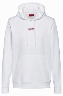 HUGO BOSS French Terry Hoodie With New Season Logo Embroidery - White