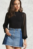 Forever 21 Contemporary Sheer-Sleeve Top