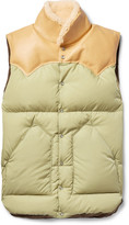 Rocky Mountain Featherbed - Slim-fit Leather And Shearling-trimmed Shell Down Gilet
