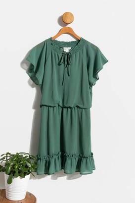 francesca's Druelle Peasant Mini Dress - Black