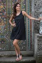Fair Trade Sleeveless Short Black Cotton Sundress, 'Melati in Black'