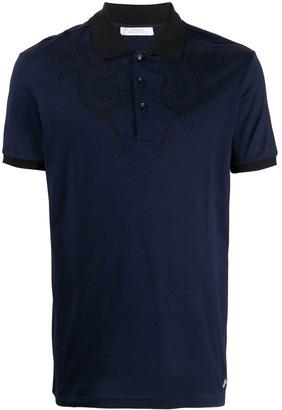 Versace jacquard neck polo shirt