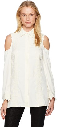 Love Scarlett Women's Long Sleeeve Open Shoulder Lace Front Tunic Blouse