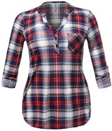 Plus4u Half Button Down Plaid Shirt With 3/4 Sleeves Mandarin Collar Red Navy Size 2XL