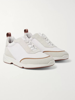 Loro Piana Modular Walk Aqua Light Leather-Trimmed Shell And Suede Sneakers