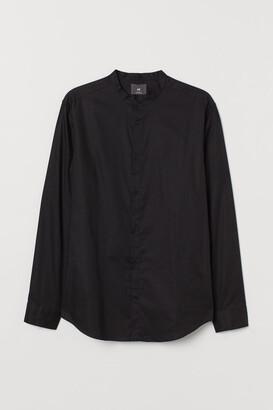 H&M Band-collar Shirt Slim fit - Black