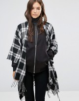 French Connection Plaid Blanket Cape Scarf