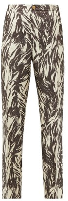 F.R.S For Restless Sleepers Etere Vii Abstract-print Silk-blend Trousers - Brown Multi
