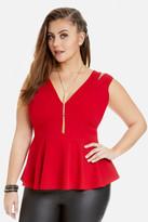 Fashion to Figure Emily Cutout Shoulder Peplum Top