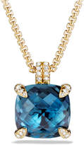 David Yurman 18k Châtelaine® Pendant Necklace in Hampton Blue Topaz, 18""