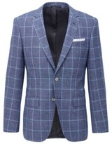 BOSS Checked slim-fit jacket in virgin wool and linen