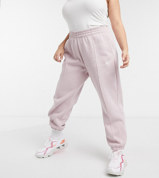 Nike Plus oversized fleece jogger in light pink