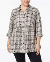 Style&Co. Style & Co Plus Size Star-Print Plaid Babydoll Shirt, Created for Macy's