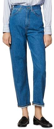 Sandro Dual High-Rise Two-Tone Jeans in Blue Jeans