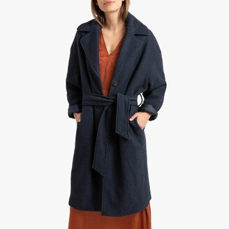 La Redoute Collections Wool Mix Mid-Length Coat with Belt and Pockets