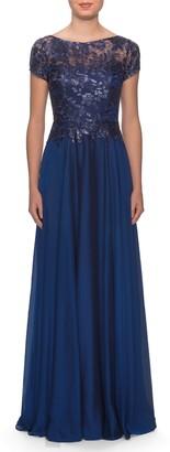 La Femme Floral Lace & Satin Gown
