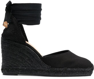 Castaner Tonal Wedge-Heeled Espadrille With Ankle Ties