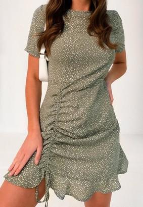 Missguided Petite Sage Polka Dot Ruched Tea Dress