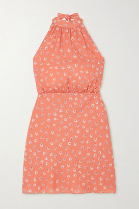 TVF Eclair Printed Crepe De Chine Mini Halterneck Dress - Peach