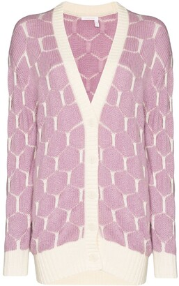 See by Chloe Intarsia Knit Honeycomb Pattern Cardigan