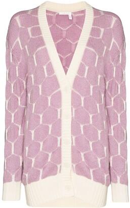 See by Chloe intarsia knit honeycomb pattern cardigan