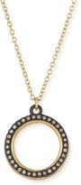 Armenta Old World Midnight Pavé Diamond Circle Pendant Necklace