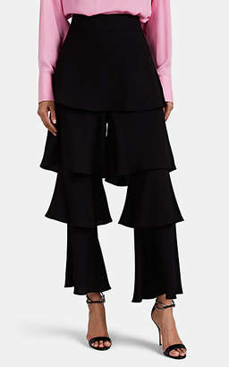 Osman Women's Felix Satin-Back Crepe Flounce Pants - Black