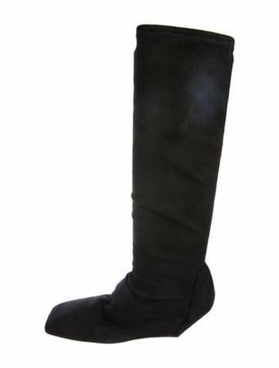 Rick Owens Suede Wedge Knee-High Boots Black