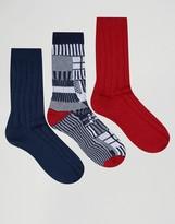 Asos Boot Socks With Geo Grid Design 3 Pack