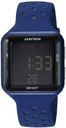 Armitron Sport Unisex 40/8417BLU Grey Accented Digital Chronograph Perforated Silicone Strap Watch