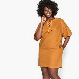 Castaluna Plus Size Linen Dress with Ruffled Sleeves and Laced Collar