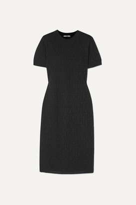 Fendi Pointelle-knit Cotton-blend Midi Dress - Black