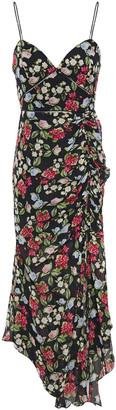Nicholas Asymmetric Floral-print Silk-chiffon Midi Dress
